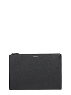 Givenchy-A4 pouch whit black leather clutch