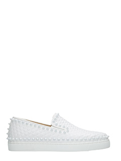 Christian Louboutin-Pik boat  white leather sneakers