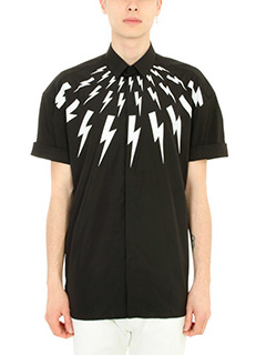 Neil Barrett-Camicia Lightning Bolt in popeline di cotone nero