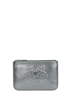 Kenzo-Pochette Small Tiger Metallic in pvc  grigio