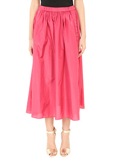 Kenzo-Gonna A Line Skirt in seta fucsia-elastico in vita