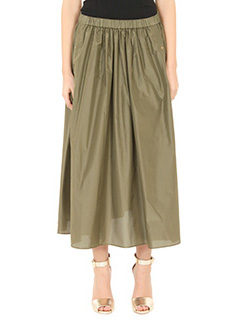 Kenzo-Gonna A Line Skirt in seta verde-elastico in vita