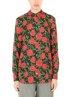 Alexander Wang-Camicia Straith Cut Button Rose Print in seta nera rossa