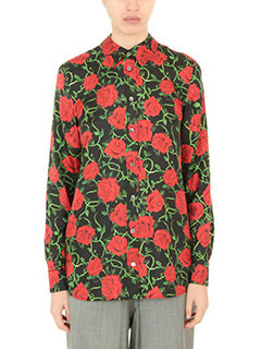 Alexander Wang-Camicia Straith Cut Button Rose Print in seta nera rossa