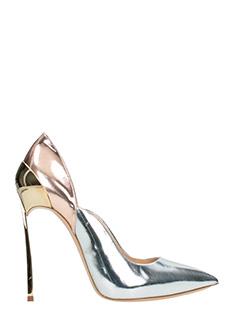Casadei-Decolletè Techno Blade in pelle specchiata argento rame