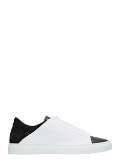Ylati-Sneakers Nerone Low in pelle bianca nera