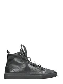 Ylati-Sneakers Sorrento High in pelle nera-lacci