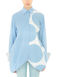 Stella McCartney-Camicia Manuela in cotone celeste bianco