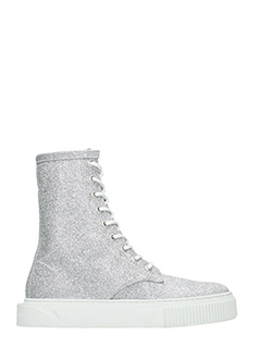 Gienchi-Sneakers Derby in tessuto glitter argento