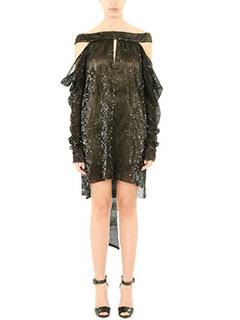 LA MANIA-Vestito Courty in tessuto paillettes nero