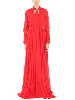 LA MANIA-Vestito Monne in chiffon rosso