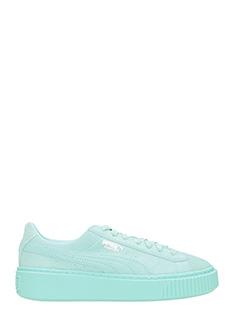 Puma-Sneakers Platform Basket in camoscio verde acqua