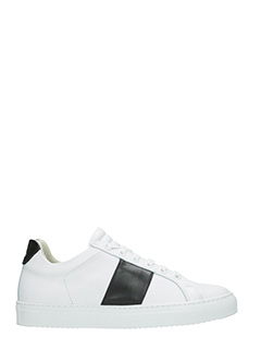 National Standard-Sneakers basse in pelle bianca nera