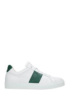National Standard-Sneakers basse in pelle bianca verde