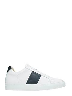 National Standard-Sneakers basse in pelle bianca blu