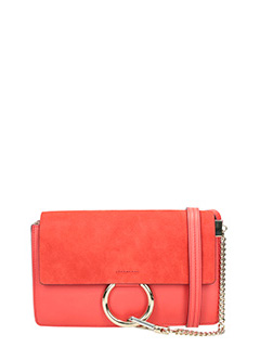 Chloé-Nano faye red suede and leather bag