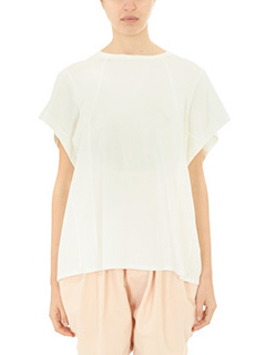 Chlo�-T-Shirt in cotone bianco latte