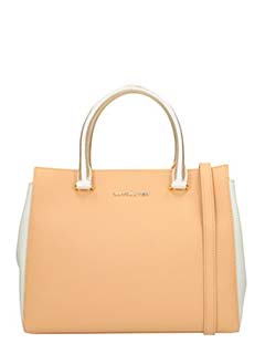 Lancaster-Borsa Adeline Handle Bag in pelle saffiano cuoio bianca
