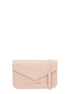 Lancaster-Pochette Adeline Mini Clutch in pelle saffiano rosa