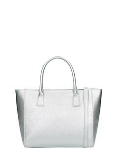 Lancaster-Borsa Shopping Bag Small in pelle saffiano argento