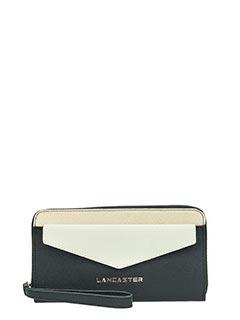 Lancaster-Portafoglio Adeline Zip Wallet in pelle nera bianca