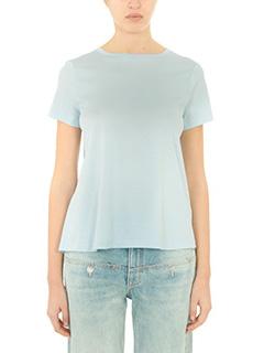 Helmut Lang-T-Shirt Back Tie Chan in cotone azzurro acqua