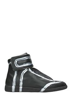 Maison Margiela-Sneakers alte Future in pelle nera argento