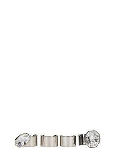 Maison Margiela-Set di quattro anelli in ottone color argento