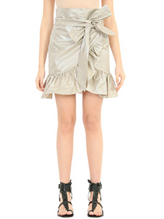 Isabel Marant-Gonna Liliko Ruffled W in cotone platino