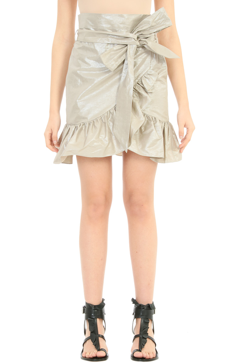 Isabel Marant GONNA LILIKO RUFFLED W IN COTONE PLATINO