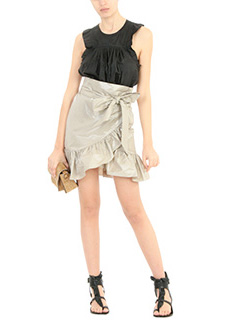 Isabel Marant GONNA LILIKO RUFFLED W IN COTONE PLATINO 3