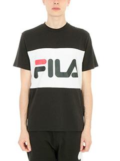 Fila-T-shirt Banda Logo in cotone bianco