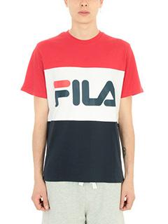 Fila-T-shirt Logo in cotone rosso/bianco/blu