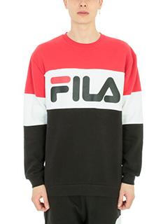 Fila-Felpa logo in cotone rosso/blu/nero