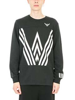 Adidas by White Mountaineering-Felpa Crew Sweat in cotone bianco nero