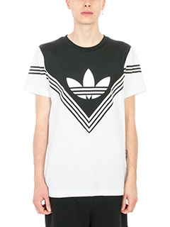 Adidas by White Mountaineering-T-Shirt Football in cotone bianco nero