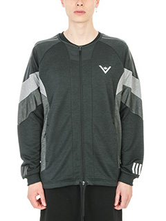 Adidas by White Mountaineering-Felpa Challenger in cotone nero-senza collo