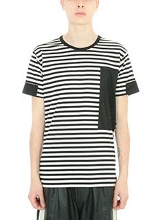 Low Brand-T-shirt Stripes in cotone bianco/nero