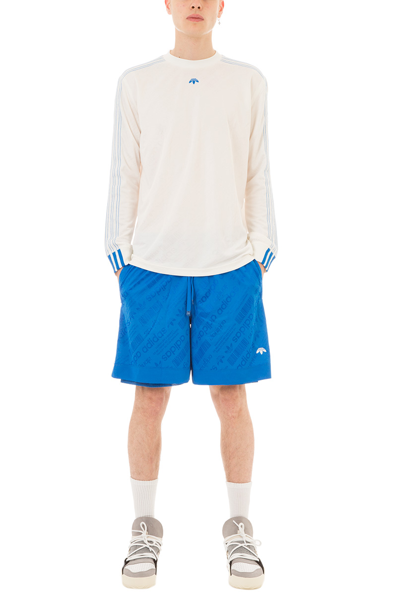 adidas by alexander wang shorts fball in jersey azzurro 259509 deliberti the luxury shopping. Black Bedroom Furniture Sets. Home Design Ideas