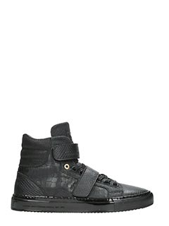 Android Homme-Propulsion hig black leather sneakers
