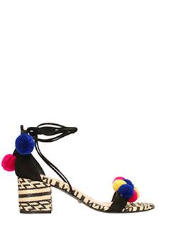 Schutz-Sandali in pelle e camoscio nero
