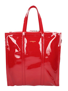 Balenciaga-Bazar shopper M red patent leather bag