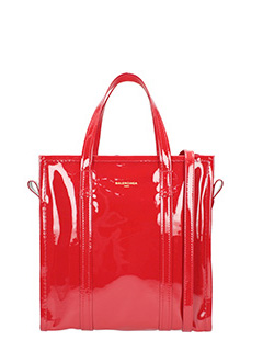 Balenciaga-Bazar shopper S red patent leather bag