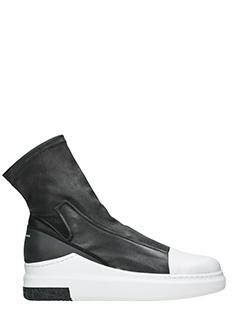 Cinzia Araia-Sneakers alte Slip On in pelle nera-suola in gomma