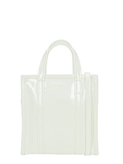 Balenciaga-Bazar shopp xs white patent leather bag
