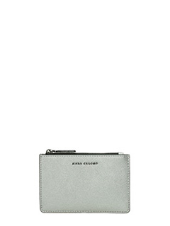 Marc Jacobs-Top zip multi  silver leather wallet