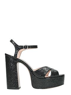 Marc Jacobs-Lust plat form black leather sandals