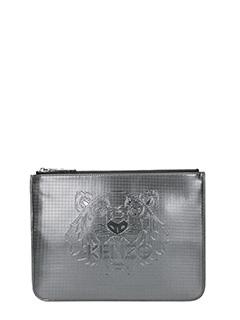Kenzo-Pochette A5 Metallic Tiger Clutch in pvc grigio