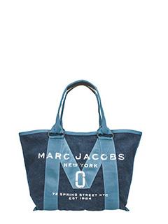 Marc Jacobs-Borsa Small Tote in nylon e cotone denim blue