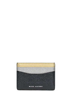 Marc Jacobs-Card Case in pelle nera argento oro
